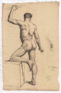 Theodore Clement Steele - Study of male nude