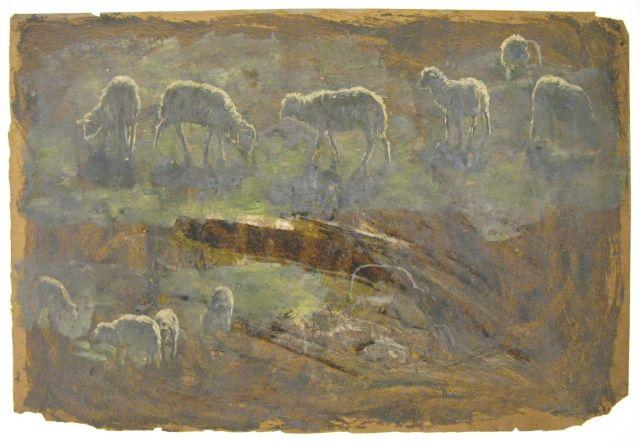 Study of sheep by Theodore Clement Steele (1847-1926, United States) | Museum Art Reproductions | ArtsDot.com