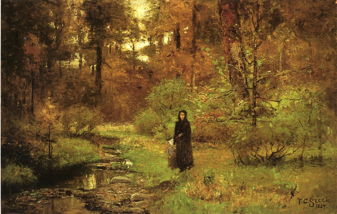 The Brook in the Woods by Theodore Clement Steele (1847-1926, United States)