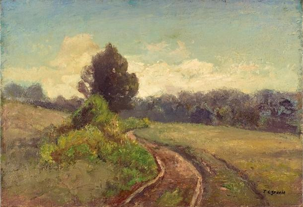 The Open Road (Late Afternoon, Road to the Cabin) by Theodore Clement Steele (1847-1926, United States) | ArtsDot.com