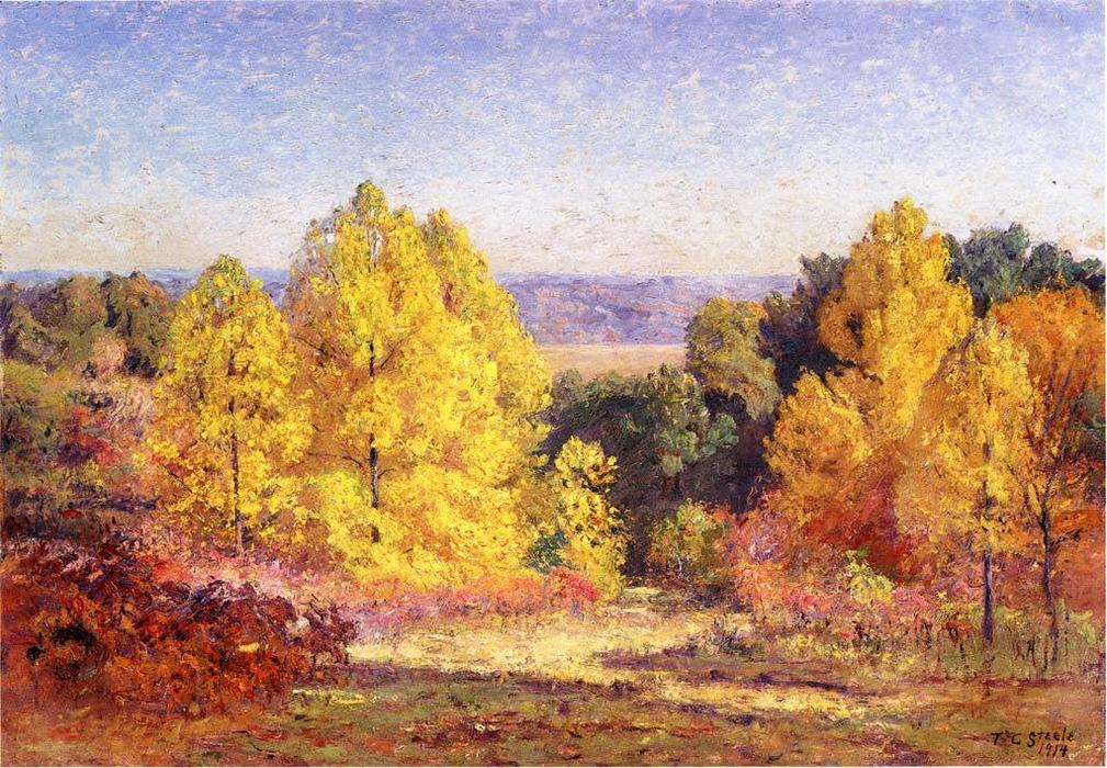 The Poplars, 1914 by Theodore Clement Steele (1847-1926, United States) | Painting Copy | ArtsDot.com