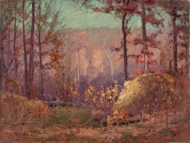 The Ravine in Autumn by Theodore Clement Steele (1847-1926, United States) | ArtsDot.com