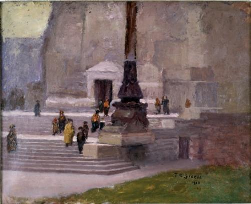 The Steps of the Monument, Indianapolis by Theodore Clement Steele (1847-1926, United States) | Painting Copy | ArtsDot.com
