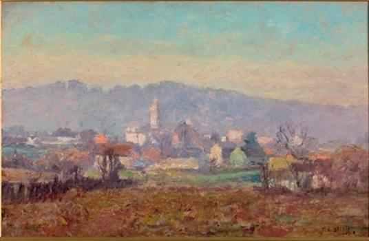 The Tower in the Village by Theodore Clement Steele (1847-1926, United States) | ArtsDot.com