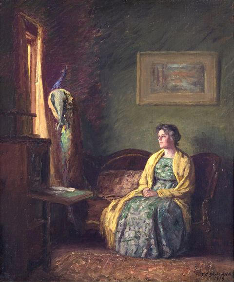 Order Museum Quality Copies | The Yellow Shawl by Theodore Clement Steele (1847-1926, United States) | ArtsDot.com