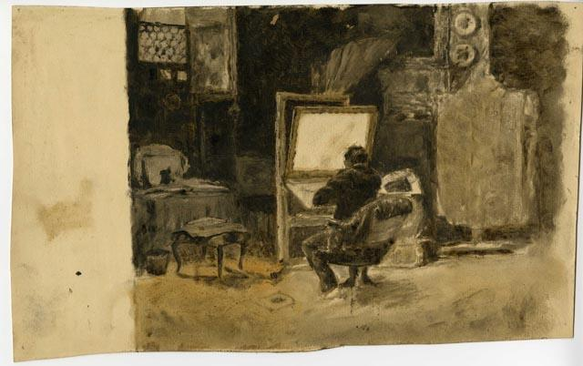 Tonal Sketch of Artist in Studio by Theodore Clement Steele  (buy Fine Art Art reproduction Theodore Clement Steele)