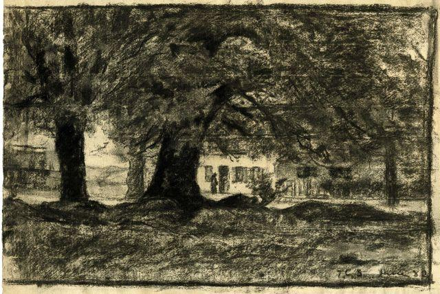 Trees and a house by Theodore Clement Steele (1847-1926, United States)