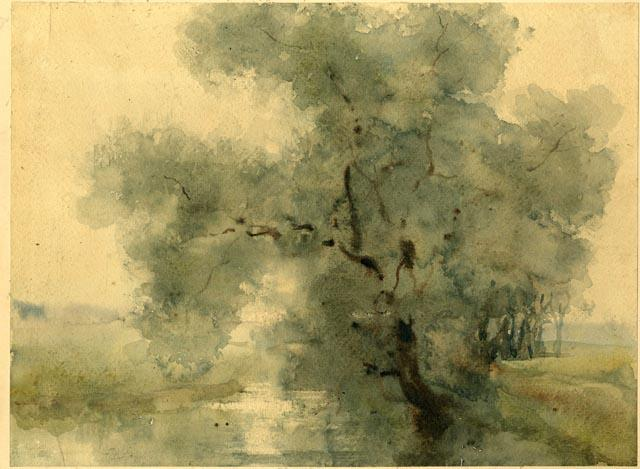 Watercolor Study of Large Tree by Theodore Clement Steele (1847-1926, United States) | Art Reproduction | ArtsDot.com