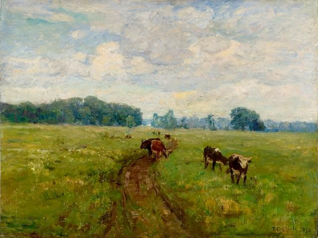 White-Faced Cows in Pasture by Theodore Clement Steele (1847-1926, United States) | Painting Copy | ArtsDot.com