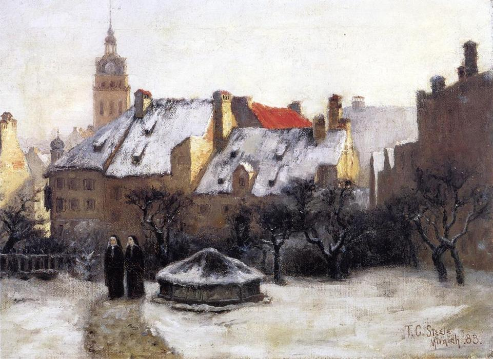 Winter Afternoon - Old Munich, 1883 by Theodore Clement Steele (1847-1926, United States) | Museum Art Reproductions | ArtsDot.com