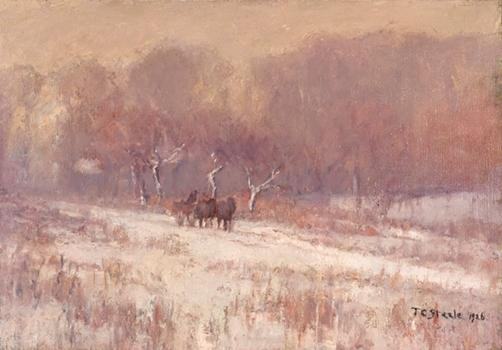 Winter Scene (Axtell Road, Snowy Day) by Theodore Clement Steele (1847-1926, United States)