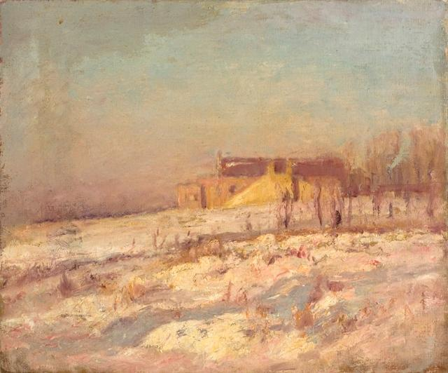 Winter Scene (Barn in the Background) by Theodore Clement Steele (1847-1926, United States)