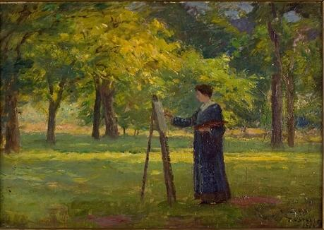 Woman Painting in a Grove by Theodore Clement Steele (1847-1926, United States)