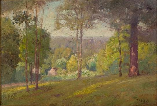 Wooded Hills in Autumn (Midsummer, North Slope) by Theodore Clement Steele (1847-1926, United States)