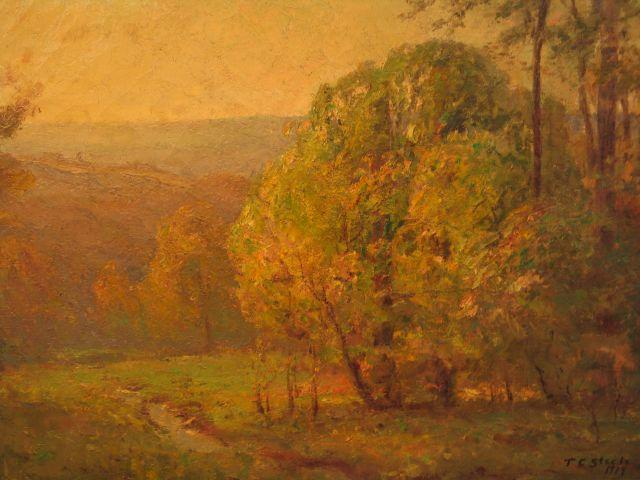 Wooded Hills in the Spring by Theodore Clement Steele (1847-1926, United States) | Painting Copy | ArtsDot.com