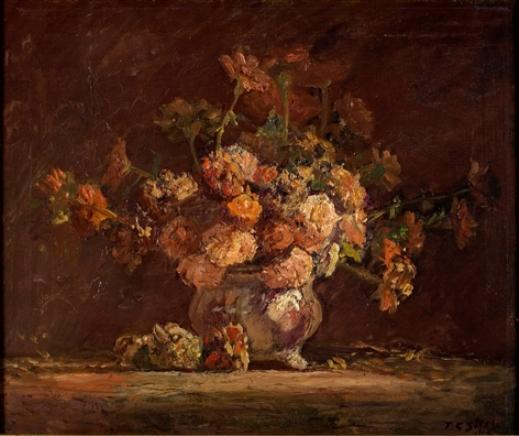 Zinnias by Theodore Clement Steele (1847-1926, United States)
