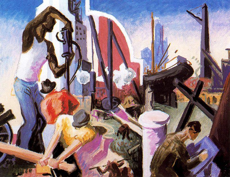 City Building (Study for America Today) by Thomas Hart Benton (1889-1975, United States) | Art Reproduction | ArtsDot.com