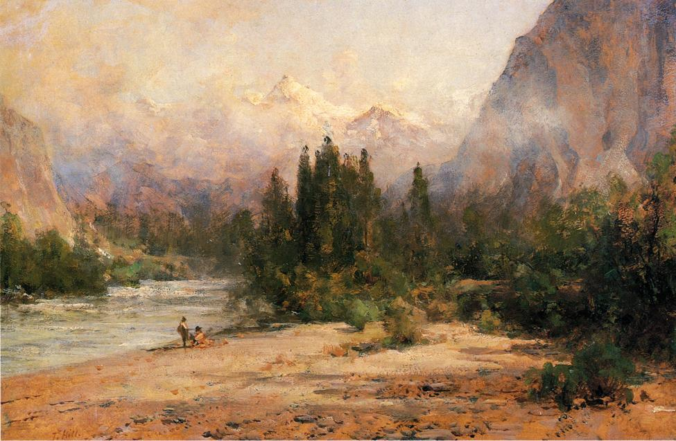 Bow River Gap at Banff, on Canadian Pacific Railroad by Thomas Hill (1829-1908, United Kingdom)