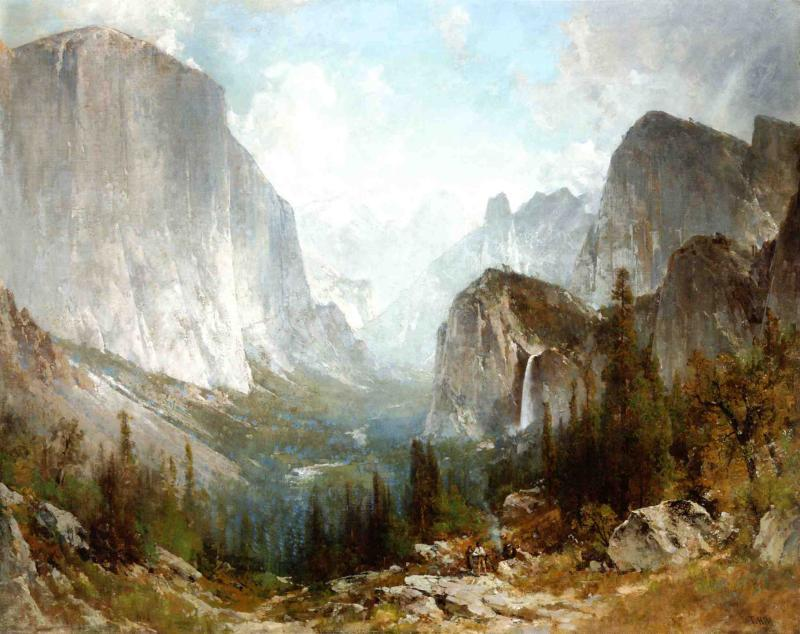 Piute Indians at the Gates of Yosemite, Oil On Canvas by Thomas Hill (1829-1908, United Kingdom)