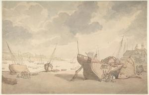 Thomas Rowlandson - Harbor scene with tide out; beached boats