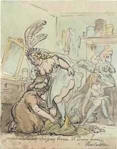 Thomas Rowlandson - The Actresses Dressing Room at Drury Lane Theatre, London