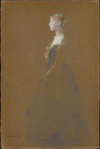 Thomas Wilmer Dewing - Woman in a Blue Dress