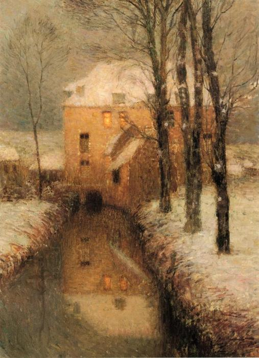 The Canal, Snow, Oil On Canvas by Henri Eugène Augustin Le Sidaner (1862-1939, Mauritius)
