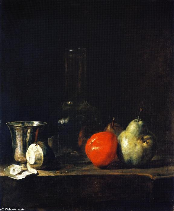 Order Oil Painting : Carafe of Water, Silver Goblet, Peeled Lemon, Apple and Pears, 1728 by Jean-Baptiste Simeon Chardin (1699-1779, France) | ArtsDot.com