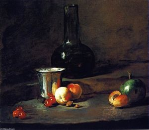 Jean-Baptiste Simeon Chardin - Carafe of Wine, Silver Goblet, Five Cherries, Two Peaches, an Apricot and a Green Apple