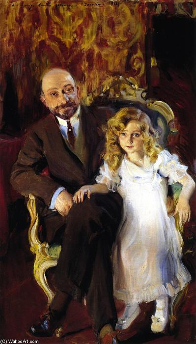 Carlos Urcola Ibarra and His Daughter, Oil On Canvas by Joaquin Sorolla Y Bastida (1863-1923, Spain)