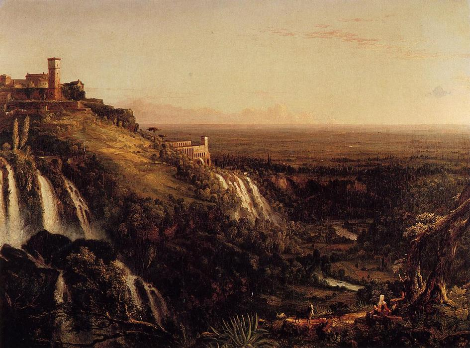 The Cascatelli, Tivoli, Looking Towards Rome (also known as view of rome frm tivoli), Oil On Canvas by Thomas Cole (1801-1848, United Kingdom)