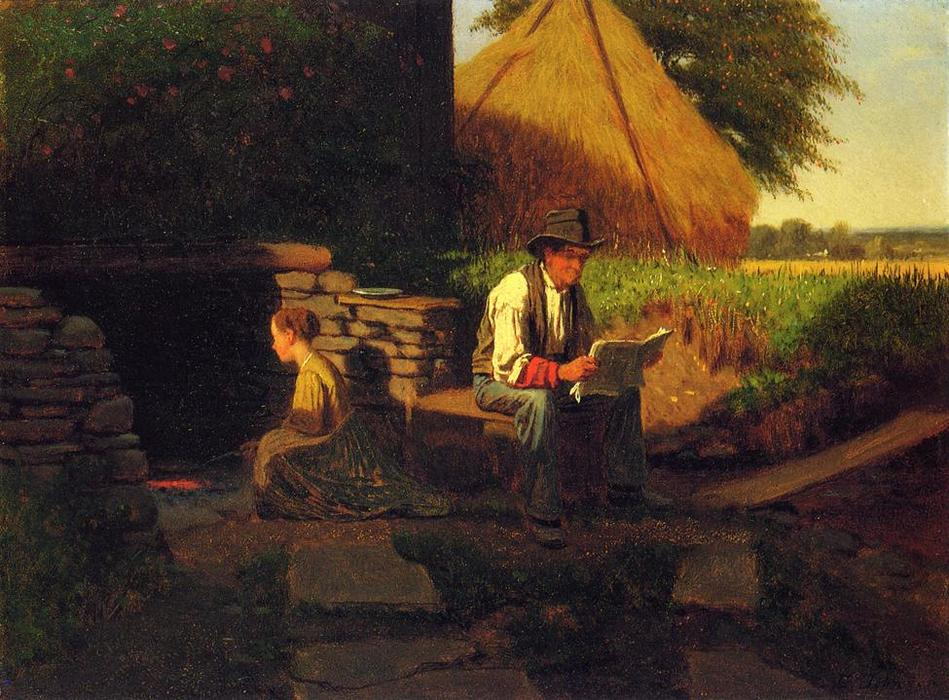 Catching Up on the News by Jonathan Eastman Johnson (1824-1906, United Kingdom) | Art Reproduction | ArtsDot.com
