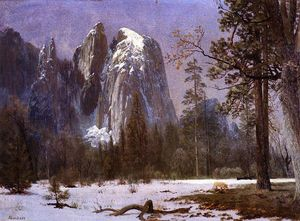 Albert Bierstadt - Cathedral Rocks, Yosemite Valley, Winter