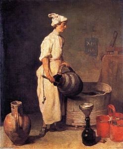 Jean-Baptiste Simeon Chardin - A Cellar Boy Cleaning a Large Jug (also known as The Cellar Boy)