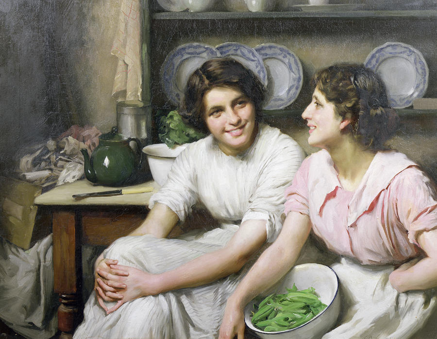 Chatterboxes, 1890 by Thomas Benjamin Kennington (1856-1916, United Kingdom)