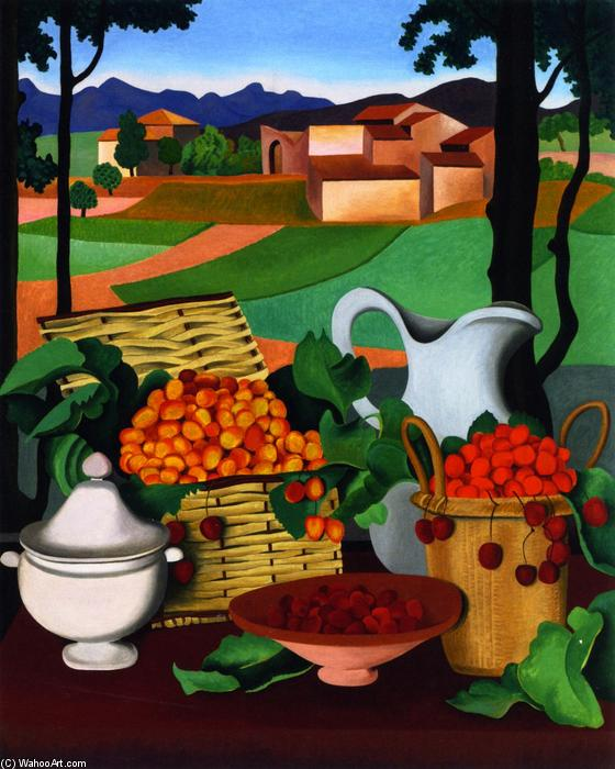 Cherries, Oil On Canvas by Auguste Herbin (1882-1960, France)