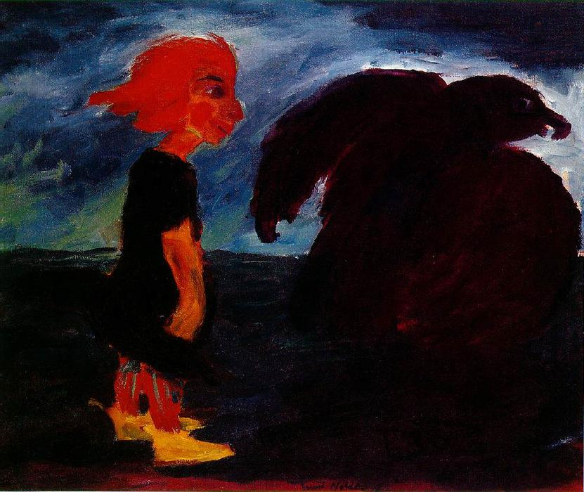 Child and Large Bird, 1912 by Emile Nolde (1867-1956, Germany)
