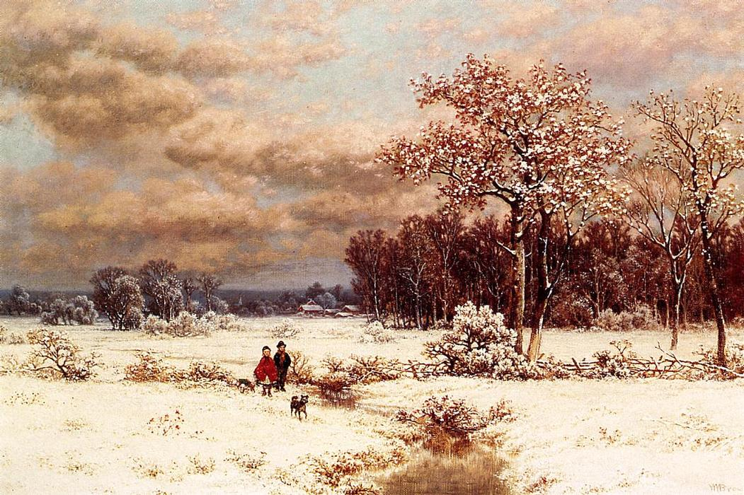 Children in a Snowy Landscape, Oil On Canvas by William Mason Brown (1828-1898, United States)