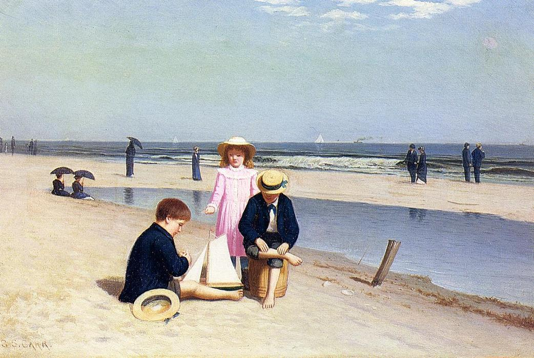 Children on the Beach, Oil On Canvas by Samuel S Carr (1837-1908, United Kingdom)