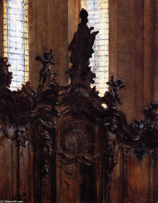 Choirstalls in Mainz Cathedral, Painting by Adolph Menzel (1815-1905, Poland)