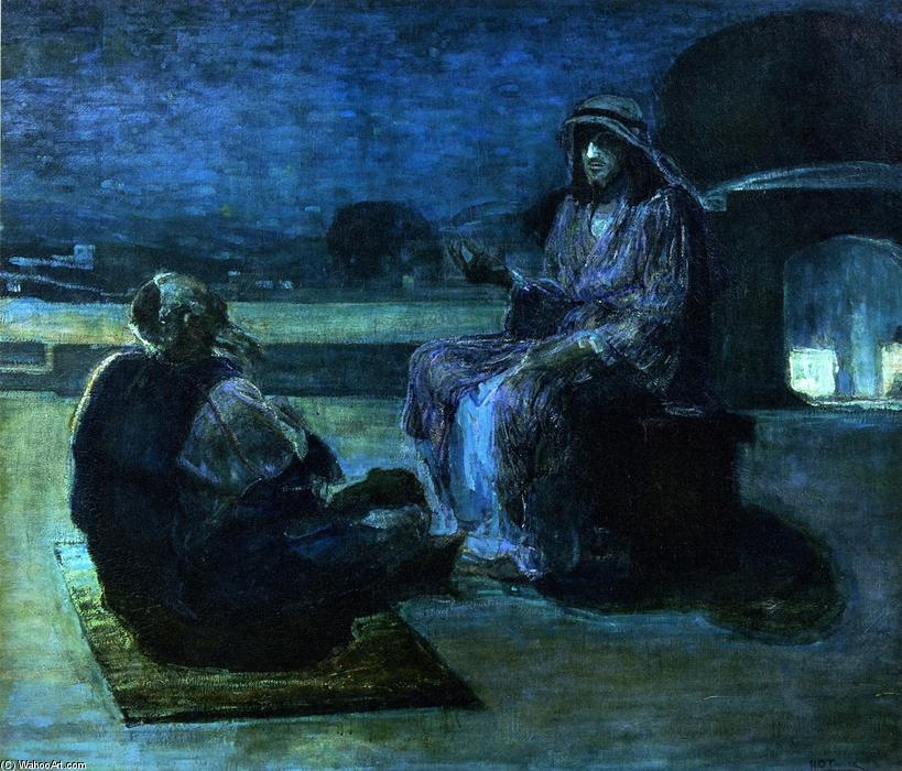 Order Art Reproductions | Christ and Nicodemus on a Rooftop (also known as Nicodemus Visiting Jefus), 1927 by Henry Ossawa Tanner (1859-1937, United States) | ArtsDot.com