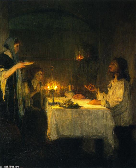Christ at the Home of Mary and Martha, Oil On Canvas by Henry Ossawa Tanner (1859-1937, United States)