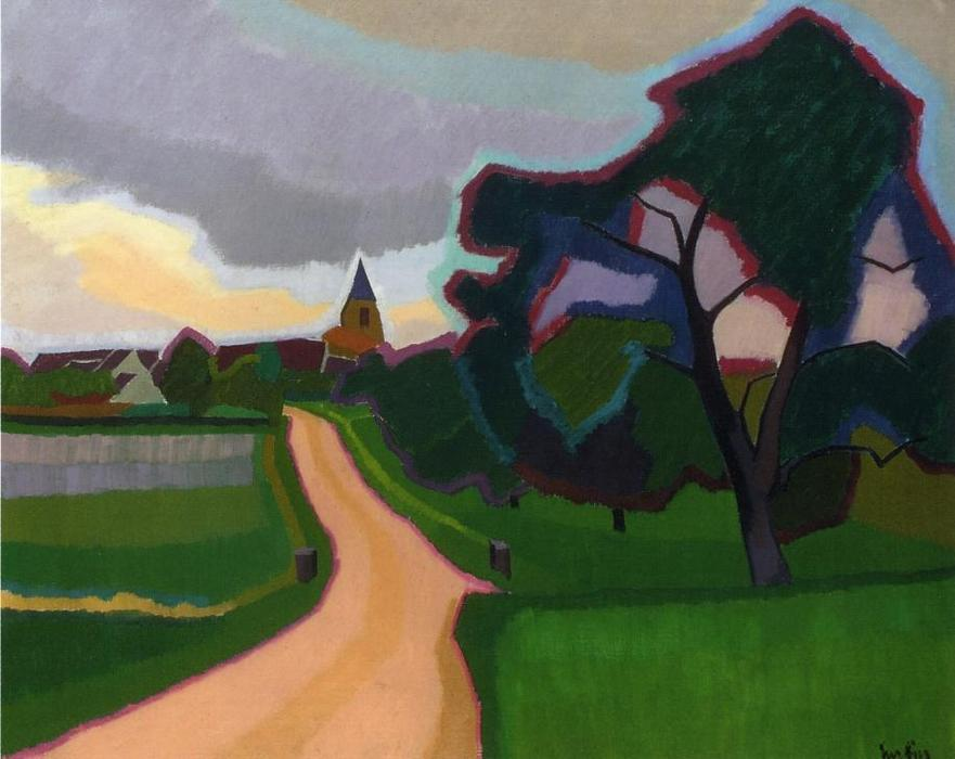 Church at Orgeruse, Oil On Canvas by Auguste Herbin (1882-1960, France)