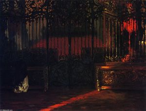 Adolph Menzel - Church Interior with Woman at Prayer, before a Rococo Iron Grille