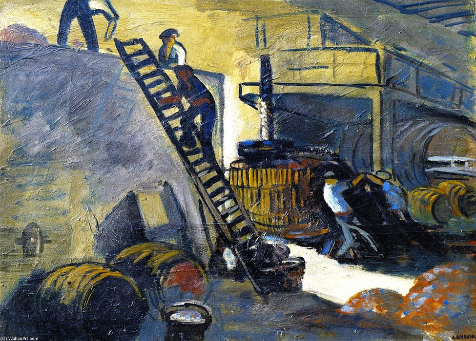 The Cider Presser, Oil On Panel by Auguste Chabaud (1882-1955, France)