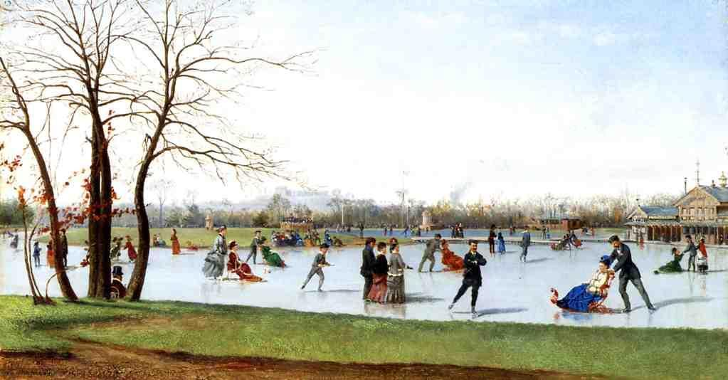 Circle of Skaters, Bois de Boulogne, Oil On Panel by Conrad Wise Chapman (1842-1910, United States)