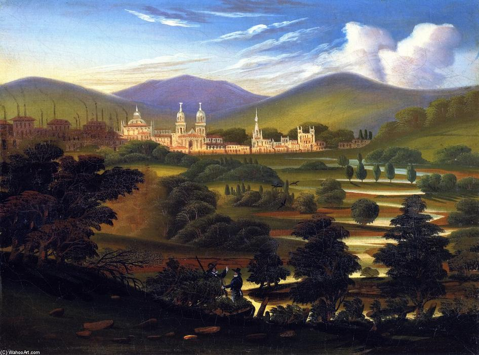 City in a River Valley [Springfield, Massachusetts], Oil On Canvas by Thomas Chambers (1808-1869)