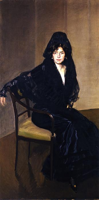Clotilde in Black, Oil On Canvas by Joaquin Sorolla Y Bastida (1863-1923, Spain)
