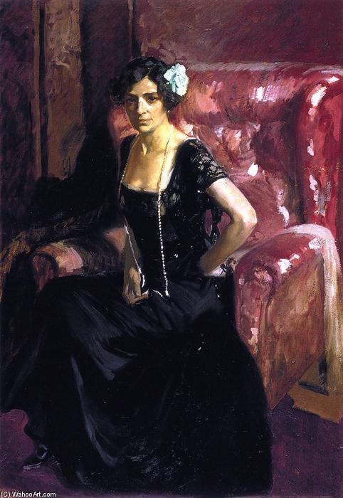 Clotilde in an Evening Gown, Oil On Canvas by Joaquin Sorolla Y Bastida (1863-1923, Spain)