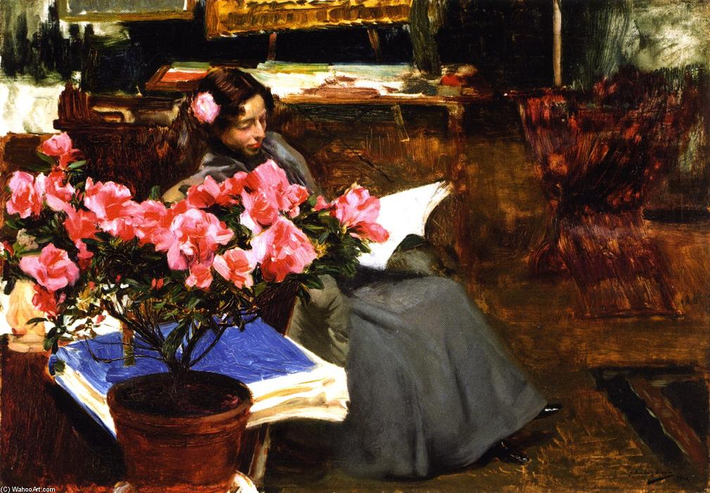 Clotilde in the Studio, Oil On Canvas by Joaquin Sorolla Y Bastida (1863-1923, Spain)